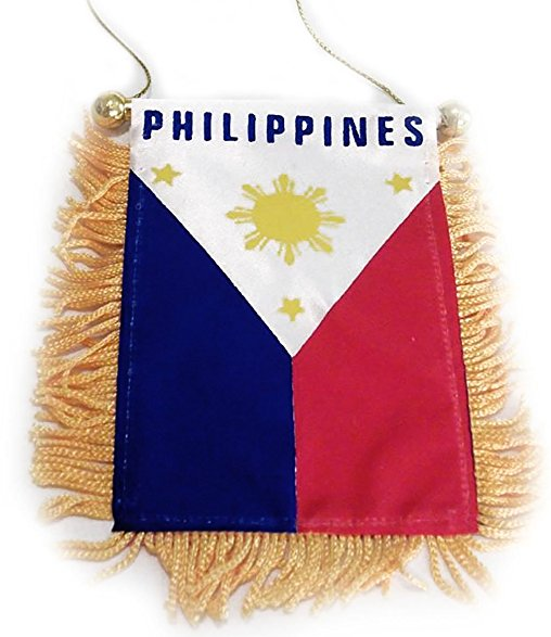 "Philippines Tassel Flag Mini Banner 4""x6"" Pack Of Two Philippines Pennant 15 x 10 CM"