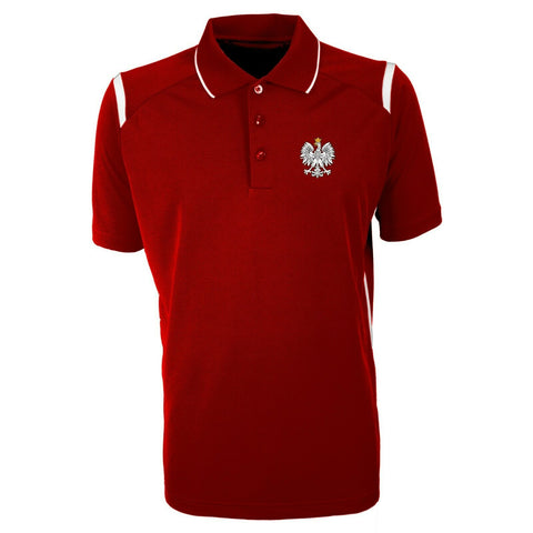 Men's Red Antigua Short Sleeve Polska Eagle Poland Polo