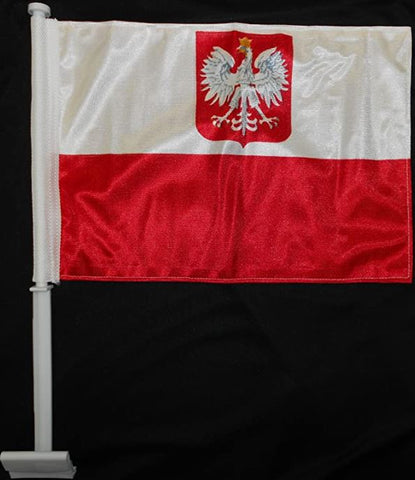 "Polish Car Flag Old Poland Flag Knitted Double Sided 11"" x 14"""
