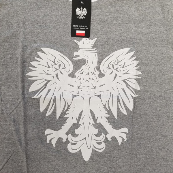 Women's Polish Polska White Printed Eagle OVER-SIZED FIT T-Shirt- Gray MADE IN POLAND