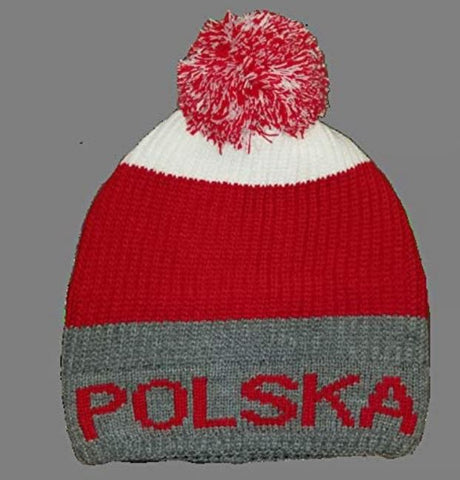 Polish Polska Lined Red Pom Knit Winter Hat - Dark Gray - Made in Poland