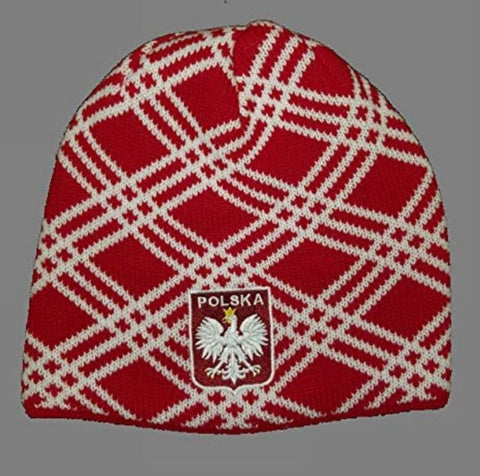 Polish Polska Crest Crisscross Knit Winter Hat - Red - Made in Poland