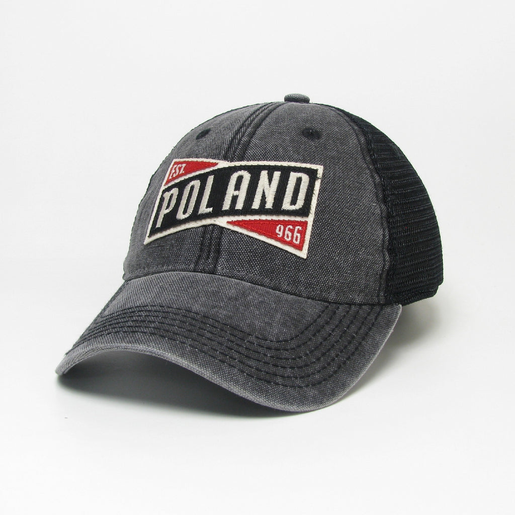 Adult Legacy Polish Poland EST.966 Stitched Trucker Hat -Gray