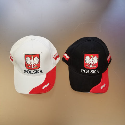 Polska Polish Crest Adult Unisex Embroidered 3 Flags Adjustable Cap Hat