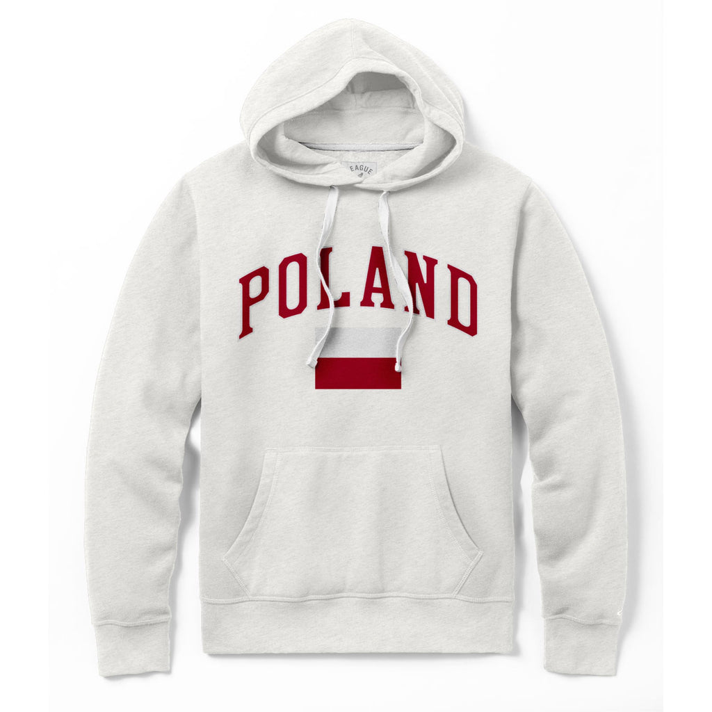 Polish Polska Men's Stadium Embroidered Flag Fleece Pullover Hoodie - Oatmeal