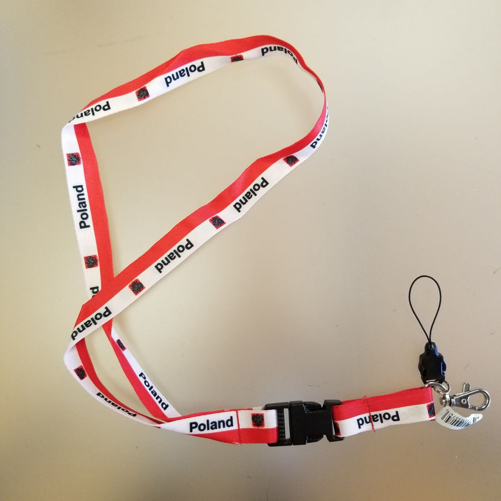 Poland Polska Eagle Lanyard w/ Removable Clip and Key Ping
