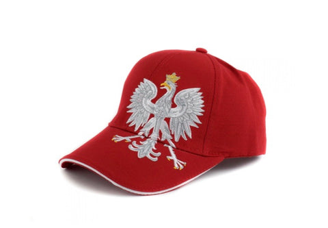 Poland Red Adjustable Baseball Hat Polska Eagle