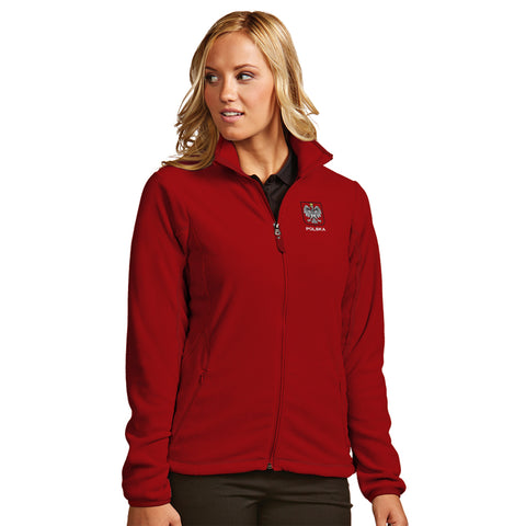 Womens Red Polish Polska Antigua Ice Breaker Outerwear Jacket Eagle Embroidered