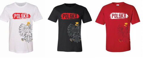 Polska  Adult Polish Crest Wrap Around Eagle T-shirt Polish Pride Short Sleeve Tee