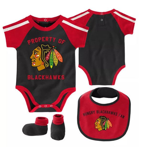 "Chicago Blackhawks ""Property Of"" 3-Peice Infant Creeper Set"