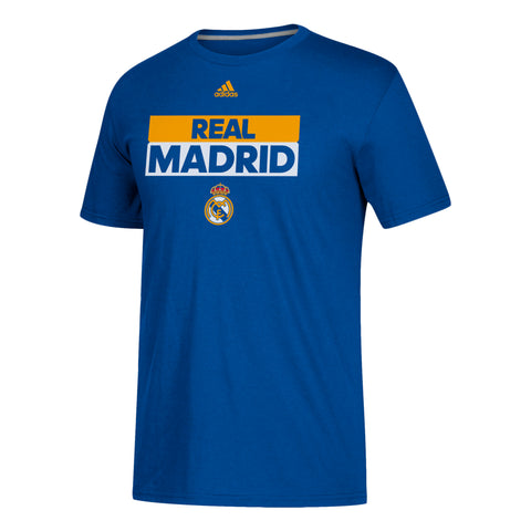 Real Madrid Men's Adidas Official CLIMALITE To Go Tee Blue and Yellow Shirt