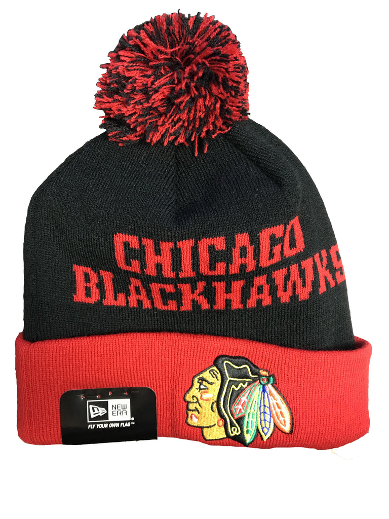 Chicago Blackhawks Red and Black New Era Knit Winter Hat