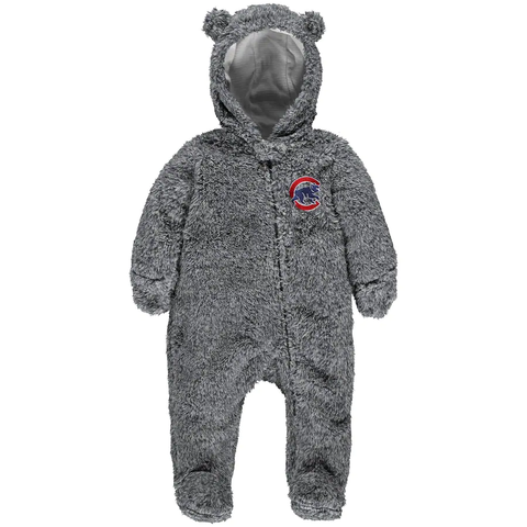 Chicago Cubs Charcoal Game Nap Teddy Fleece Zip-up Infant Cover-All