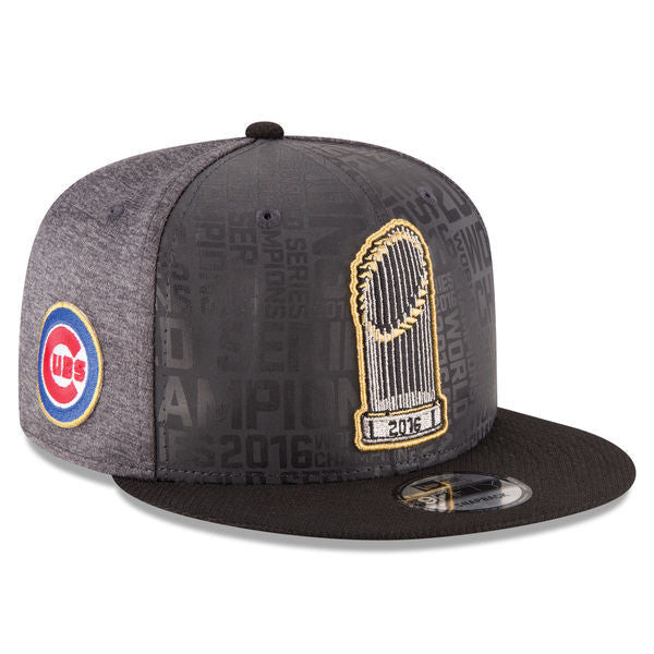 Chicago Cubs New Era 2016 World Series Champions Official Parade Locker Room 9FIFTY Snapback Adjustable Hat - Graphite/Black