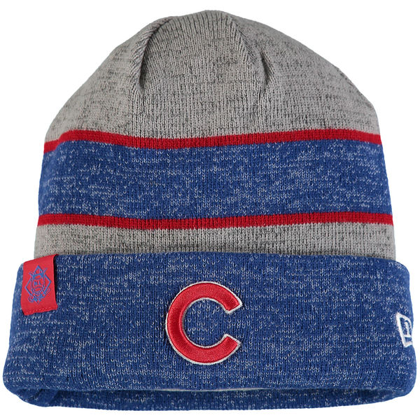 Chicago Cubs Men's New Era On Field Sport Cuffed Knit Hat – Heathered Gray/Heathered Royal