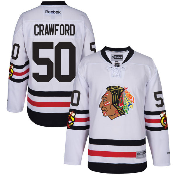 Chicago Blackhawks Mens Corey Crawford Reebok 2017 Winter Classic Premier Jersey