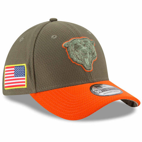 Chicago Bears New Era 2017 Salute To Service 39THIRTY Flex Hat – Olive