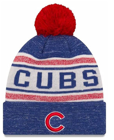 Chicago Cubs New Era Toasty Cover Cuffed Knit Hat with Pom