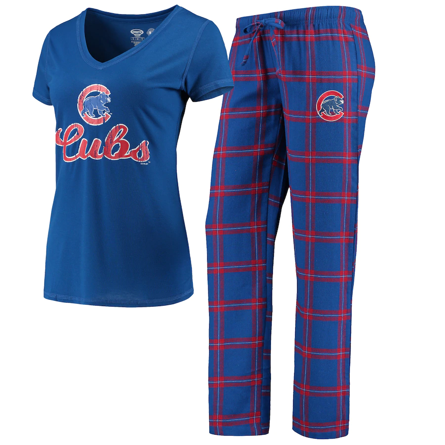 Chicago Cubs Women's Concepts Sport Troupe T-Shirt & Pants Pajama Sleep Set - Royal/Red