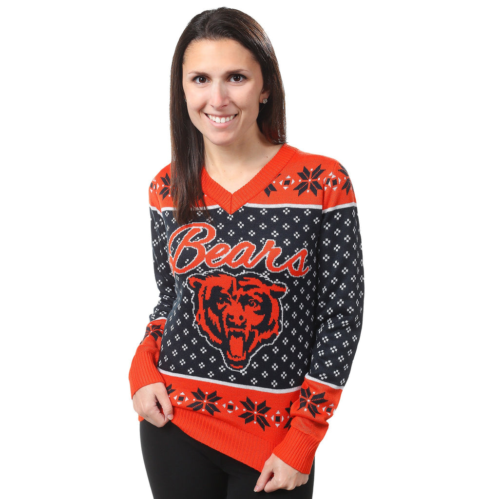 Chicago Bears Women's V-neck Ugly Holiday Sweater