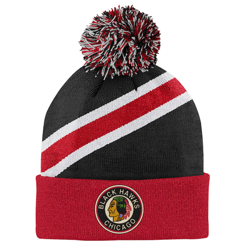 Chicago Blackhawks NHL Youth Throwback Cuffed Knit Hat w/ Pom
