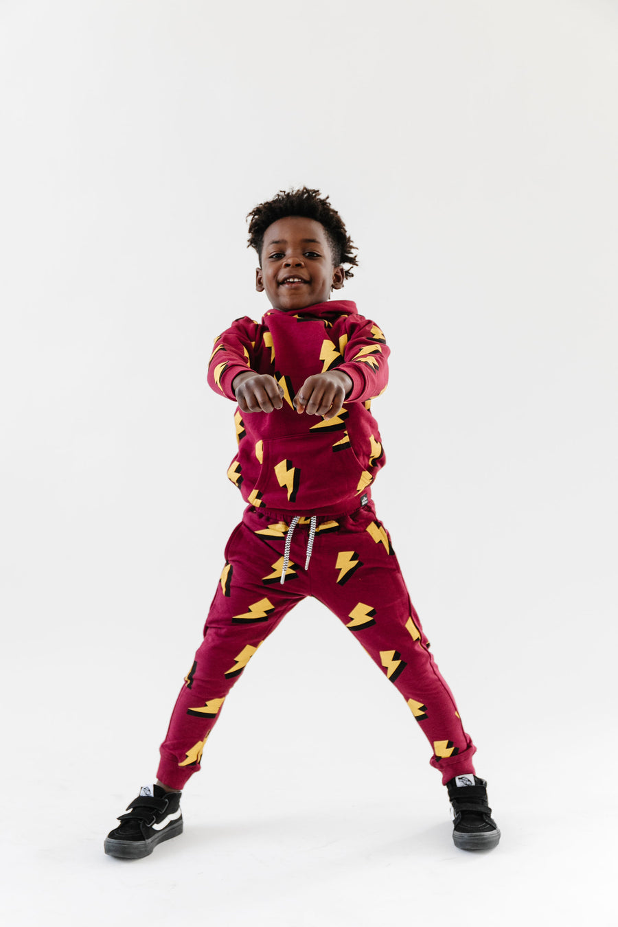Bamboo Drawstring Joggers - Allover Lightning Bolt