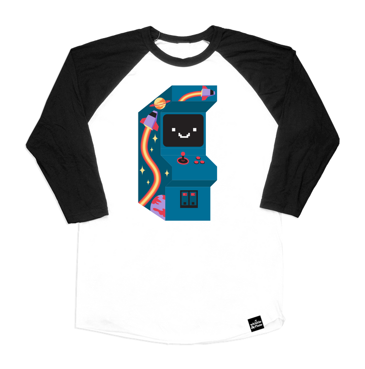 Adult Kawaii Arcade Game Baseball T-Shirt