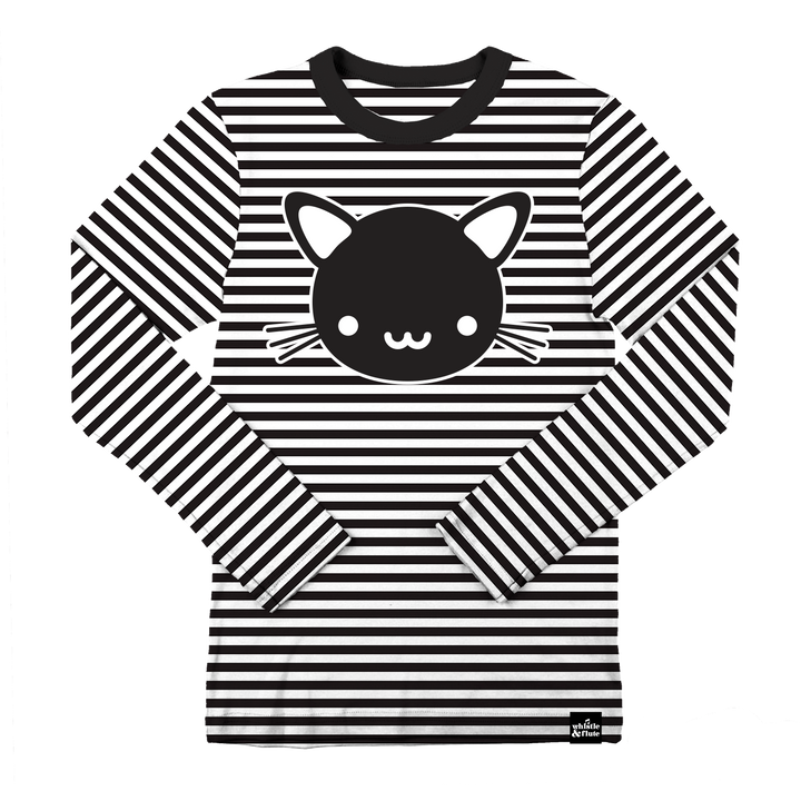 Kawaii Cat Striped T-Shirt - Longsleeve