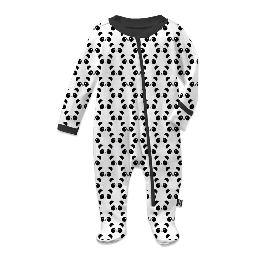 Kawaii Panda Footed Sleeper Allover Print