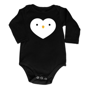 Kawaii Penguin Heart Bodysuit - Longsleeve