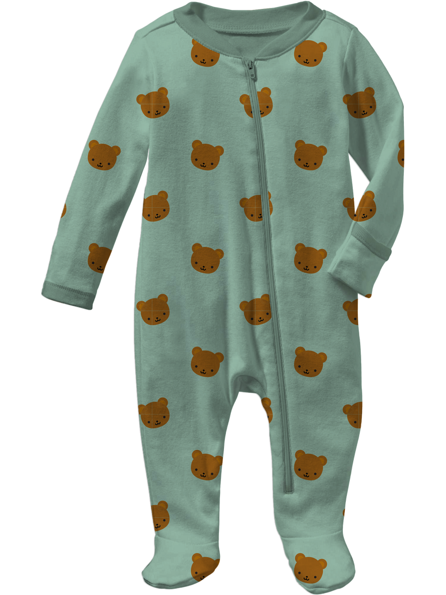 Kawaii Bear Allover Print Footed Sleeper