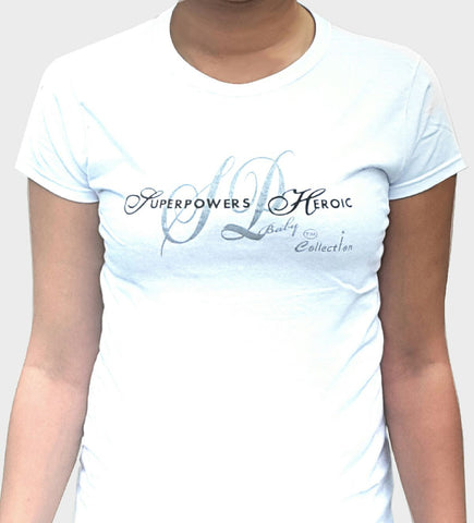 Ladies SUPERPOWERS HEROIC Apparel SP Baby Collection Junior Fit White Tee - SUPERPOWERS HEROIC APPAREL