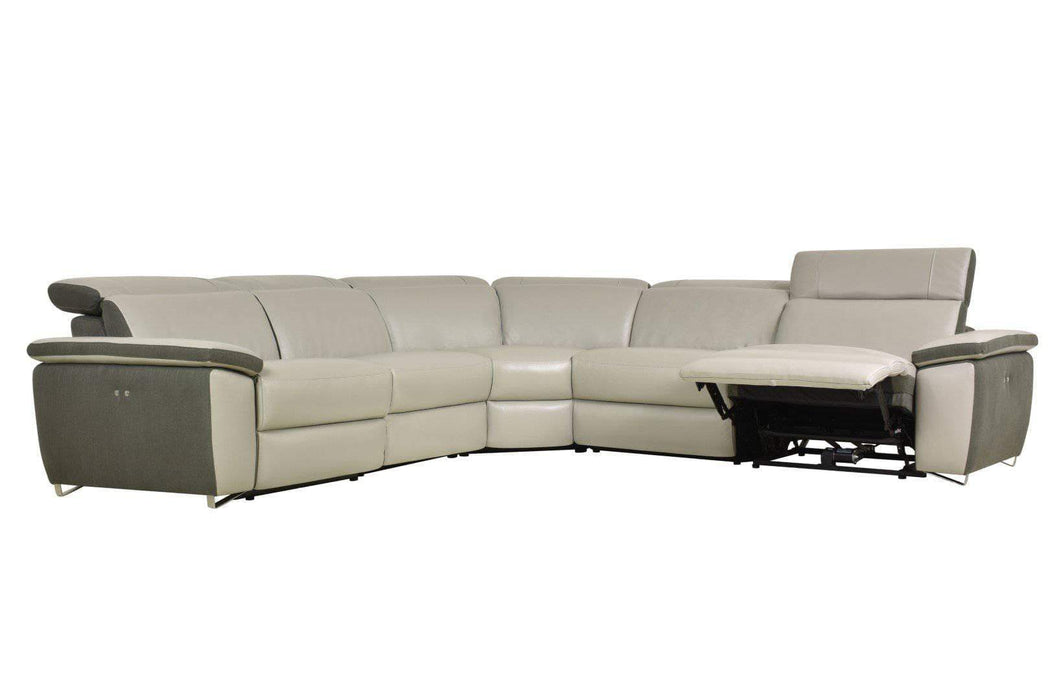 Aura Power Reclining Corner Sectional in Grey Top Grain Leather and Linen-Wholesale Furniture Brokers