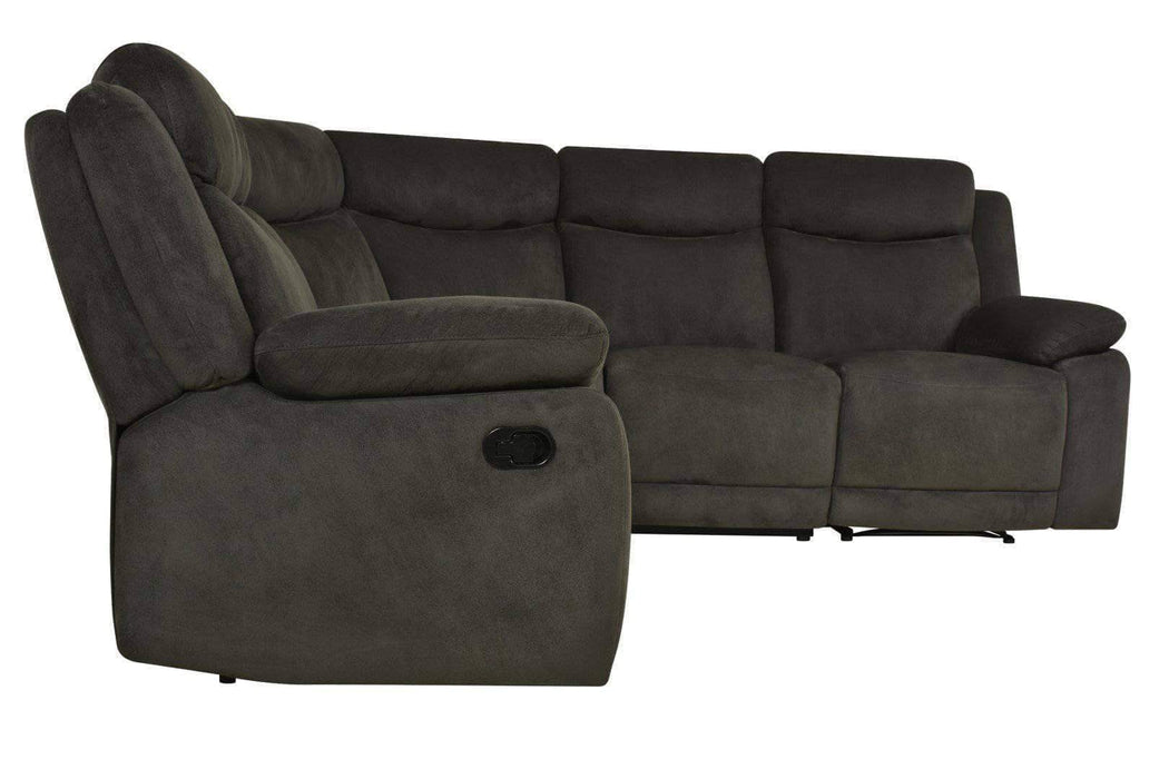 Volo Reclining Corner Sectional in Charcoal Fabric-Wholesale Furniture Brokers