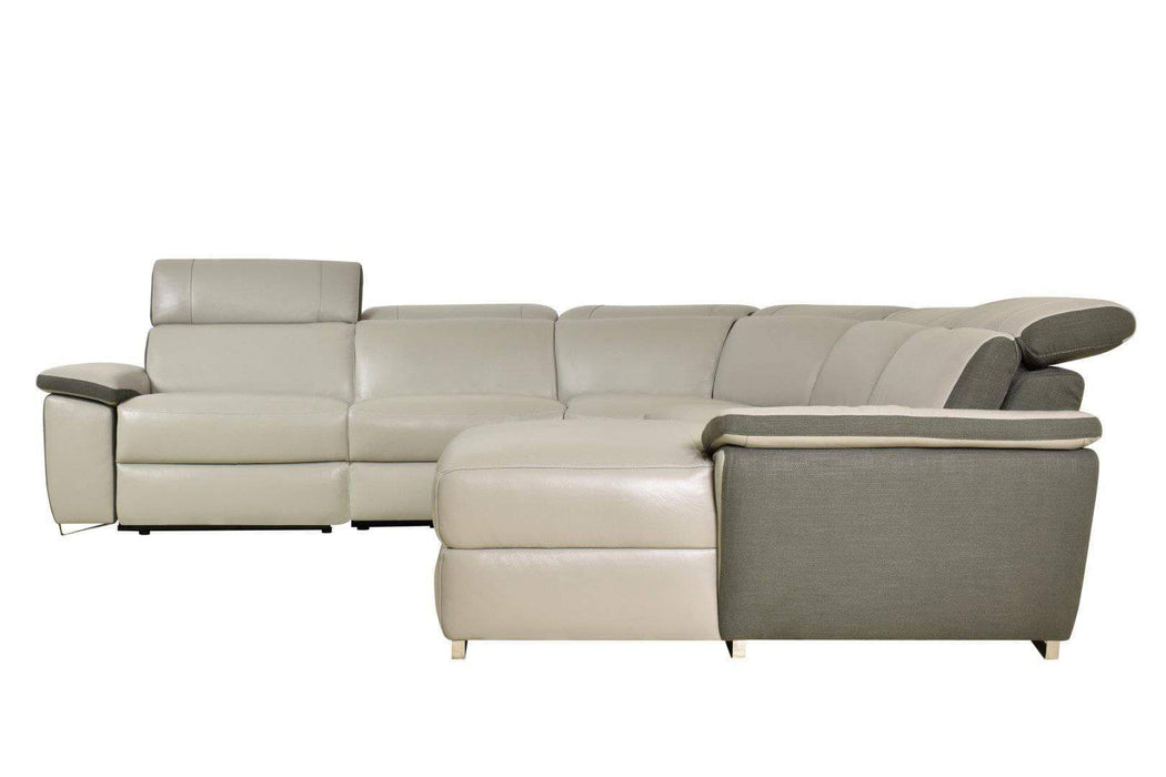 Aura Reclining Corner Sectional with RAF Chaise in Top Grain Grey Leather and Linen-Wholesale Furniture Brokers