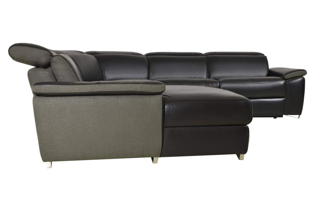 Aura Reclining Corner Sectional with LAF Chaise in Top Grain Black Leather and Linen-Wholesale Furniture Brokers