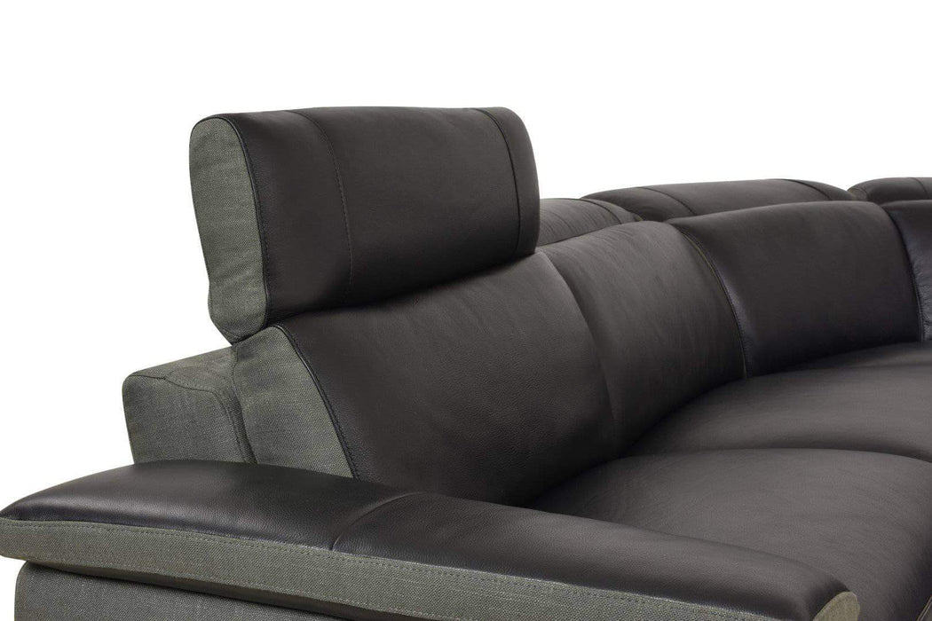 Aura Power Reclining Corner Sectional in Black Top Grain Leather with Linen-Wholesale Furniture Brokers