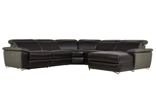 Aura Reclining Corner Sectional with RAF Chaise in Top Grain Black Leather and Linen-Wholesale Furniture Brokers