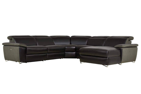 Black Aura Reclining Sectional with RAF Chaise