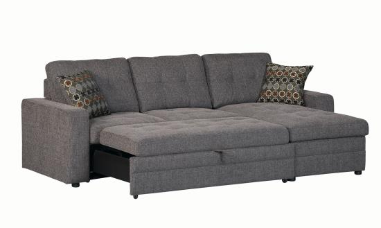 Peachy Gus Casual Charcoal Sleeper Sectional With Pull Out Bed Right Facing Storage Chaise And Tufts Gmtry Best Dining Table And Chair Ideas Images Gmtryco