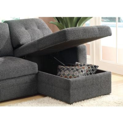 Gus Casual Charcoal Sleeper Sectional with Pull Out Bed, Right Facing Storage Chaise, and Tufts-Wholesale Furniture Brokers