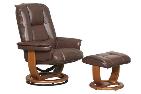 Pluto R-116 Series Leather Recliner and Ottoman Set by Stanley Chair