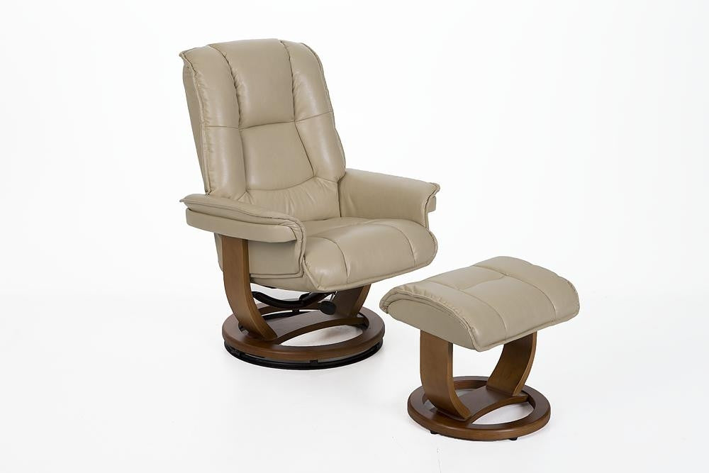 Pluto R 116 Series Leather Recliner And Ottoman Set By