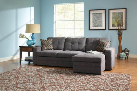 Gus Casual Charcoal Sleeper Sectional with Pull Out Bed, Right Facing Storage Chaise, and Tufts