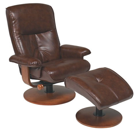 Nexus Series Faux Leather Swivel Recliner and Ottoman - Available in 4 Colours