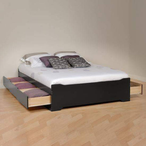 Prepac Black Coal Harbor Full Mate's Platform Storage Bed with 6 Drawers