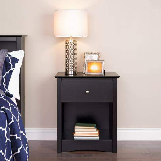 Prepac Sonoma 1-Drawer Tall Nightstand in Black
