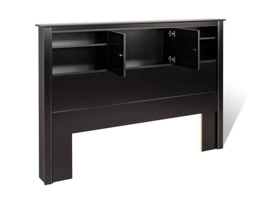 Black Kallisto Bookcase Headboard with Doors-Wholesale Furniture Brokers