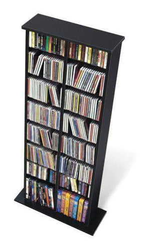 Black Double Multimedia Storage Tower - Multiple Options Available