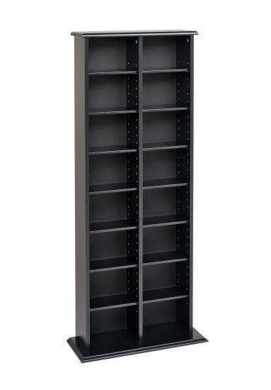 Black Double Multimedia Storage Tower - Multiple Options Available-Wholesale Furniture Brokers